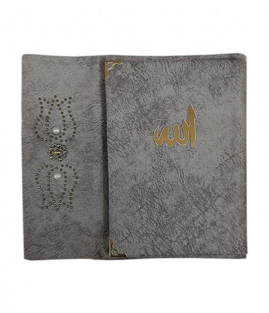 Kadife Kaplı Çantalı Yasin Kitabı Gri