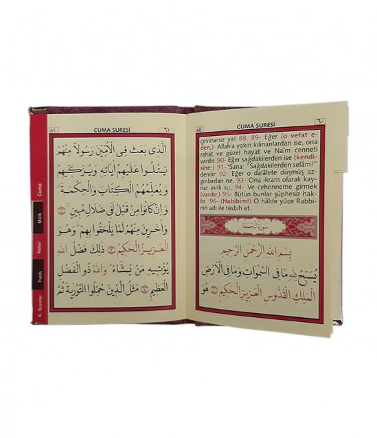 Kadife Kaplı Çantalı Yasin Kitabı Gül Kurusu