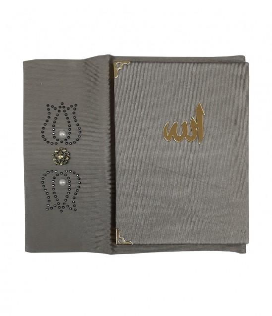 Kadife Kaplı Çantalı Yasin Kitabı Metalik Gri