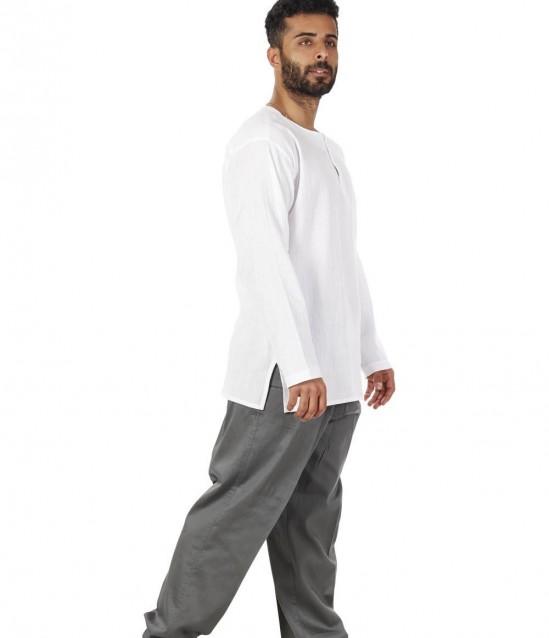 Keten Yarım Şalvar Pantolon Çınar Gri - No:5961