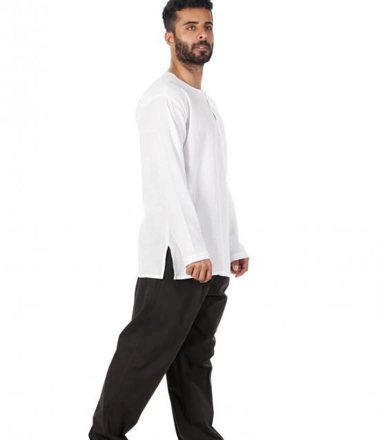 Keten Yarım Şalvar Pantolon Çınar Siyah - No:5955