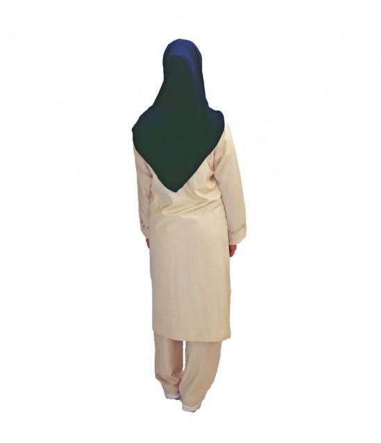 Bayan Sırma Desenli Hac Umre Kıyafeti - Krem