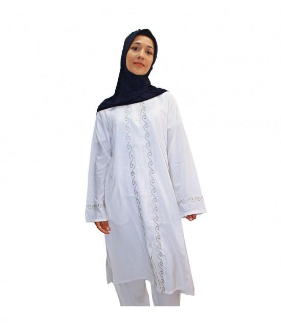 Bayan Sık Sırma Desenli Hac Umre Kıyafeti