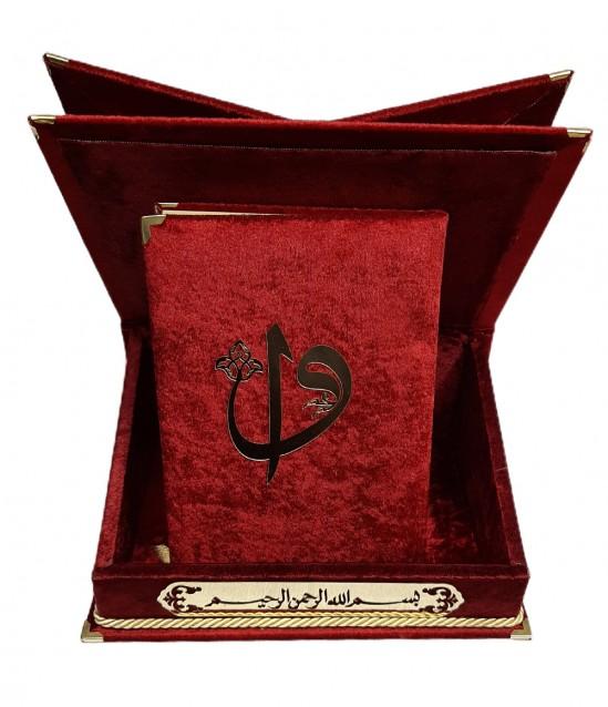 Kadife kaplı Rahleli Sandıklı Kur'an Kerim Kırmızı