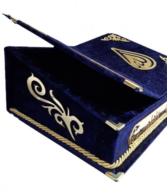 Kadife kaplı Rahleli Sandıklı Kur'an Kerim Mor