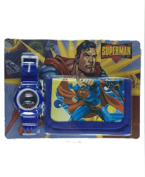 Supermanlı Çocuk Saat Cüzdan Seti