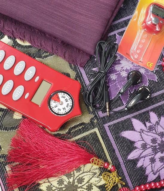 Bayan Namaz  Öğreten Set Kırmızı Kırk Yama Seccade