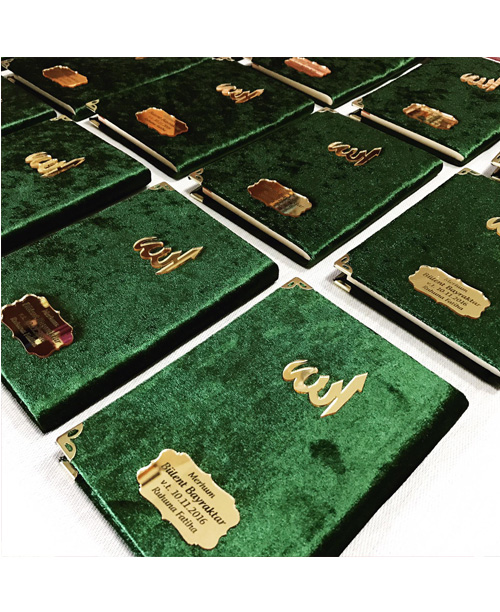 Kadife Kaplı Yasin Kitabı Pleksi Baskılı Allah Yazılı - Yeşil