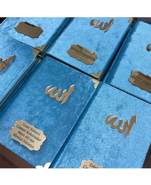 Kadife Yasin Kitabı Geniş Pleksi Baskılı - Mavi