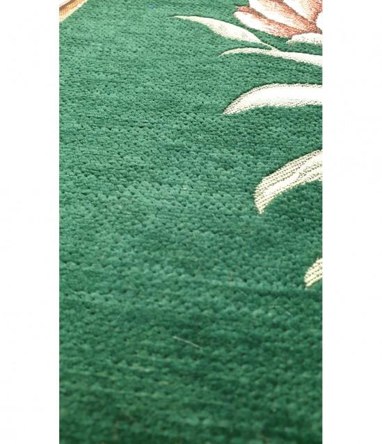 Lale Motifli Saçaklı Lüks Şönil Seccade Yeşil 10'lu