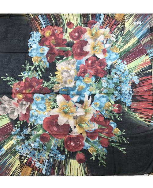 Pamuklu Yemeni Siyah Çiçek Desenli