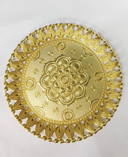 Altın Kaplama Yuvarlak Tepsi