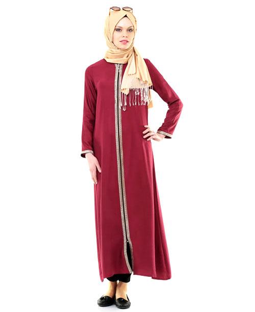 Namaz Elbisesi - Sırmalı Fermuarlı - Bordo - No:6