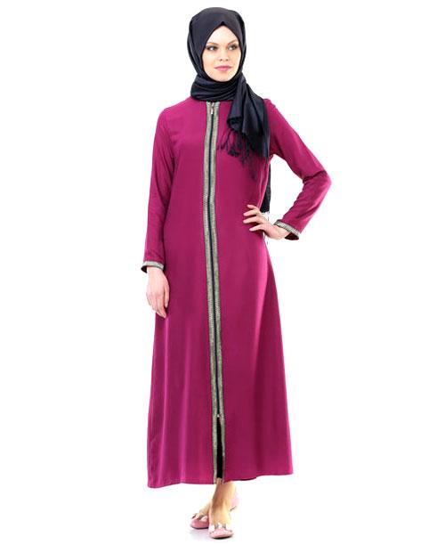 Namaz Elbisesi - Sırmalı Fermuarlı - Fuşya - No:4