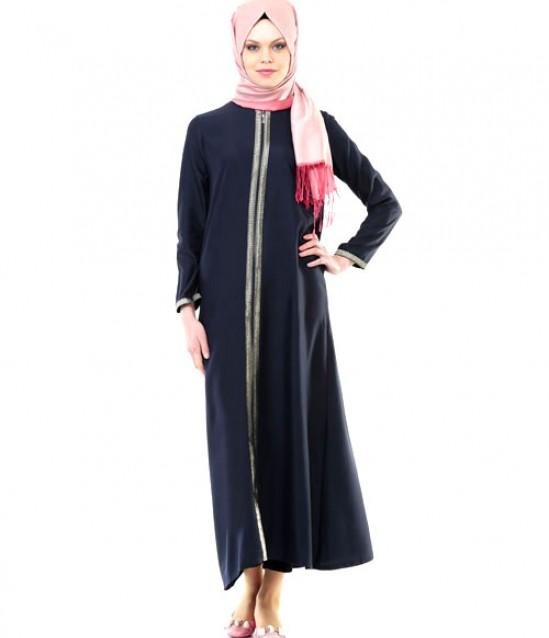 Namaz Elbisesi - Sırmalı Fermuarlı - Lacivert - No:5