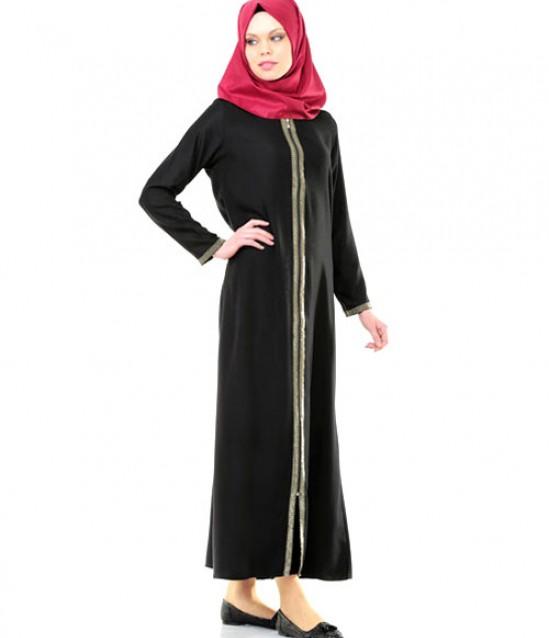 Namaz Elbisesi - Sırmalı Fermuarlı - Siyah - No:8