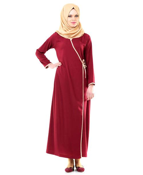 Namaz Elbisesi - Yandan Bağlamalı - Bordo - No:9