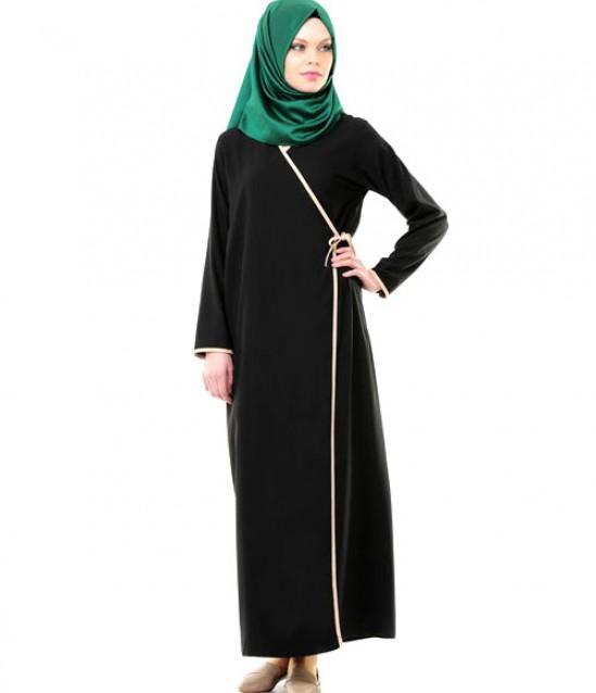 Namaz Elbisesi - Yandan Bağlamalı - Siyah - No:13