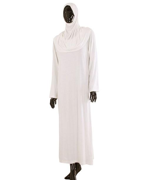 Namaz Elbisesi - Örtülü Tek Parça - Beyaz - No:28