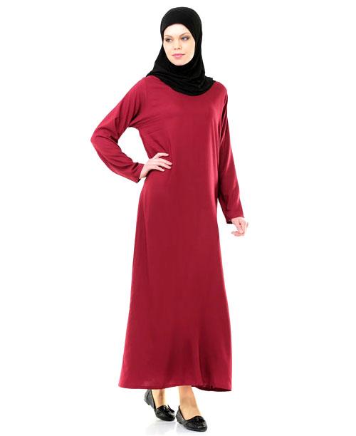 Namaz Elbisesi - Örtülü Tek Parça - Bordo - No:17