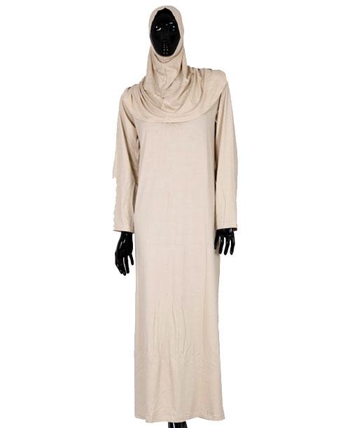 Namaz Elbisesi - Örtülü Tek Parça - Krem - No:30