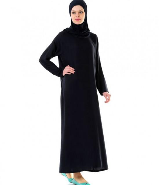 Namaz Elbisesi - Örtülü Tek Parça - Lacivert - No:15