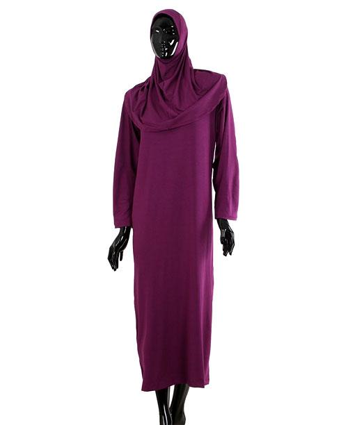 Namaz Elbisesi - Örtülü Tek Parça - Mor - No:27