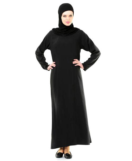Namaz Elbisesi - Örtülü Tek Parça - Siyah - No:19