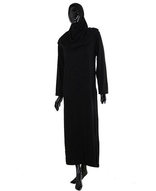 Namaz Elbisesi - Örtülü Tek Parça - Siyah - No:29