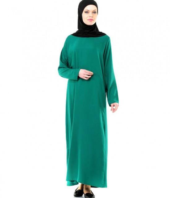 Namaz Elbisesi - Örtülü Tek Parça - Yeşil - No:14