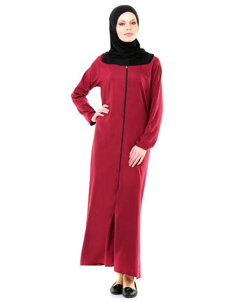 Namaz Elbisesi - Örtülü Fermuarlı - Bordo - No:24