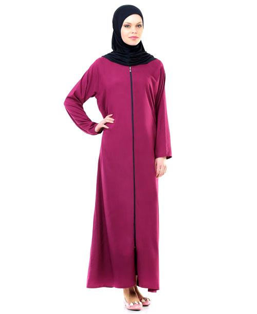 Namaz Elbisesi - Örtülü Fermuarlı - Fuşya - No:20