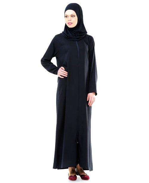 Namaz Elbisesi - Örtülü Fermuarlı - Lacivert - No:21