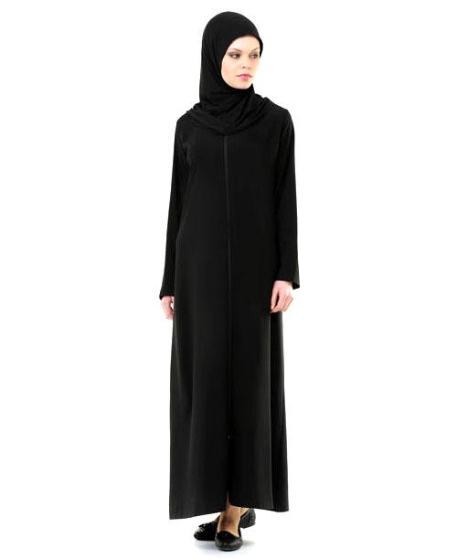 Namaz Elbisesi - Örtülü Fermuarlı - Siyah - No:25