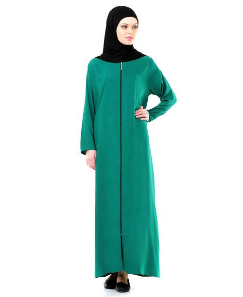 Namaz Elbisesi - Örtülü Fermuarlı - Yeşil - No:23